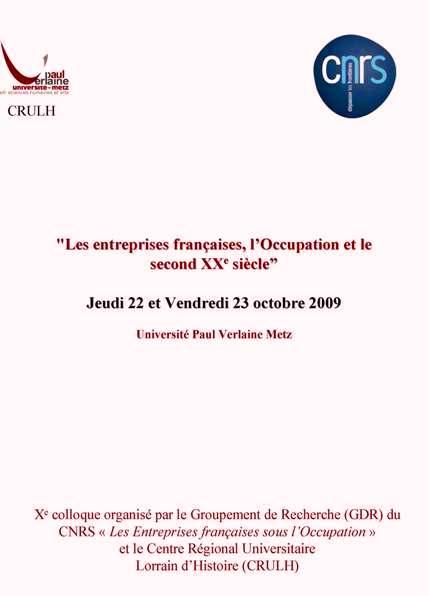 Colloque du Groupement de Recherche | 22-23 octobre 2009 |
