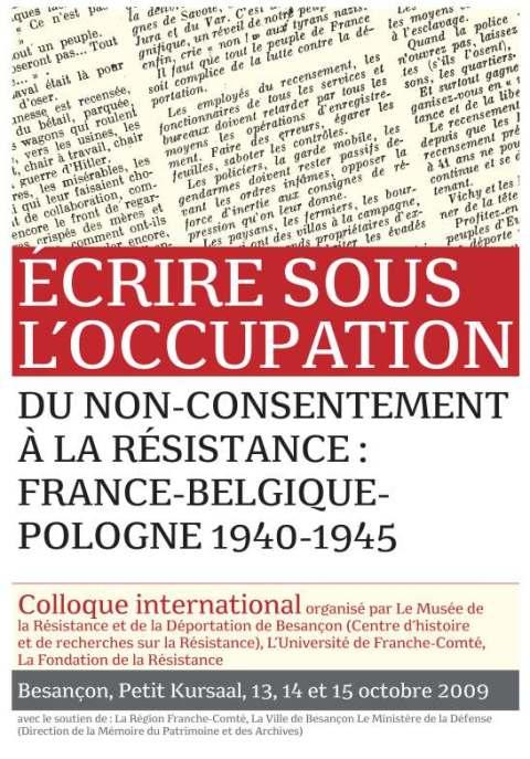 Écrire sous l'occupation | Besançon, 13-15 octobre 2009